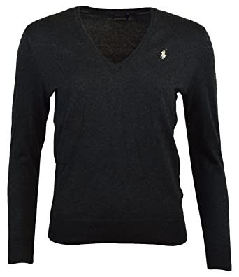 Polo Ralph Lauren Womens Pima Cotton V-Neck Sweater (XS, GreyHth)