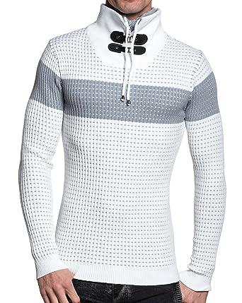 61680a85a3229 BLZ jeans - Pull homme blanc double col roulé - couleur  Blanc - taille