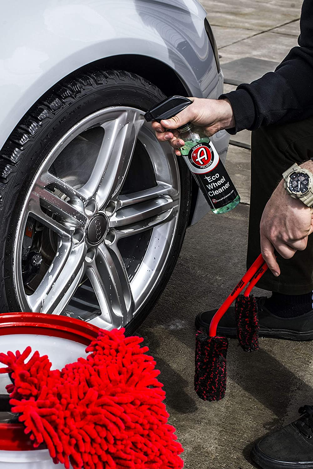 Specially Designed Brushes for Every Part of Your Wheels /& Tires Wheel Brush Kit Every Brush You Need to Detail Your Cars Wheels and More Adams Wheel Brush Kit Barrels Tires