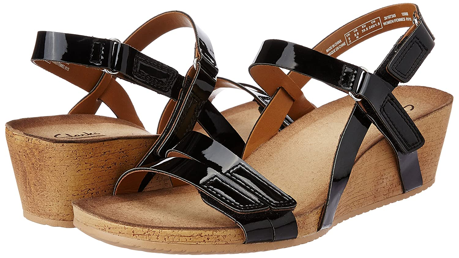 b04e4f101b Clarks Womens Alto Gull Black Patent Leather Casual Sandals: Amazon.co.uk:  Shoes & Bags