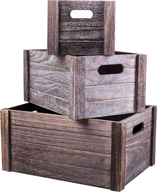 Large BASIC HOUSE Lovely Heart Cutout Handle Vintage Wooden Crates Storage Tray Rack Shelves