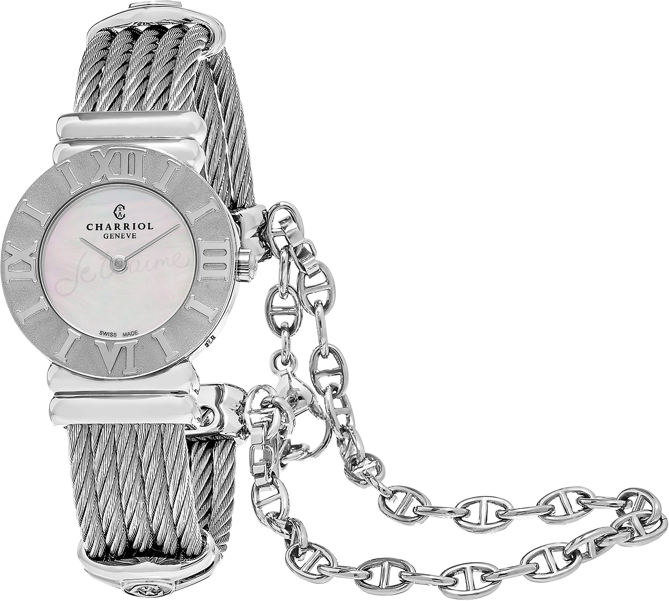Charriol St-Tropez Classic Womens Silver Watch - 24mm Analog Mother of Pearl Face Swiss Made Quartz Ladies Watch - Luxury Stainless Steel bracelet Dress Watches For Women 028R.540.554