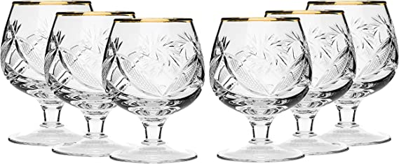 SET of 6 Russian Cut Crystal Stemmed Snifter Goblet for Cognac Scotch Whiskey