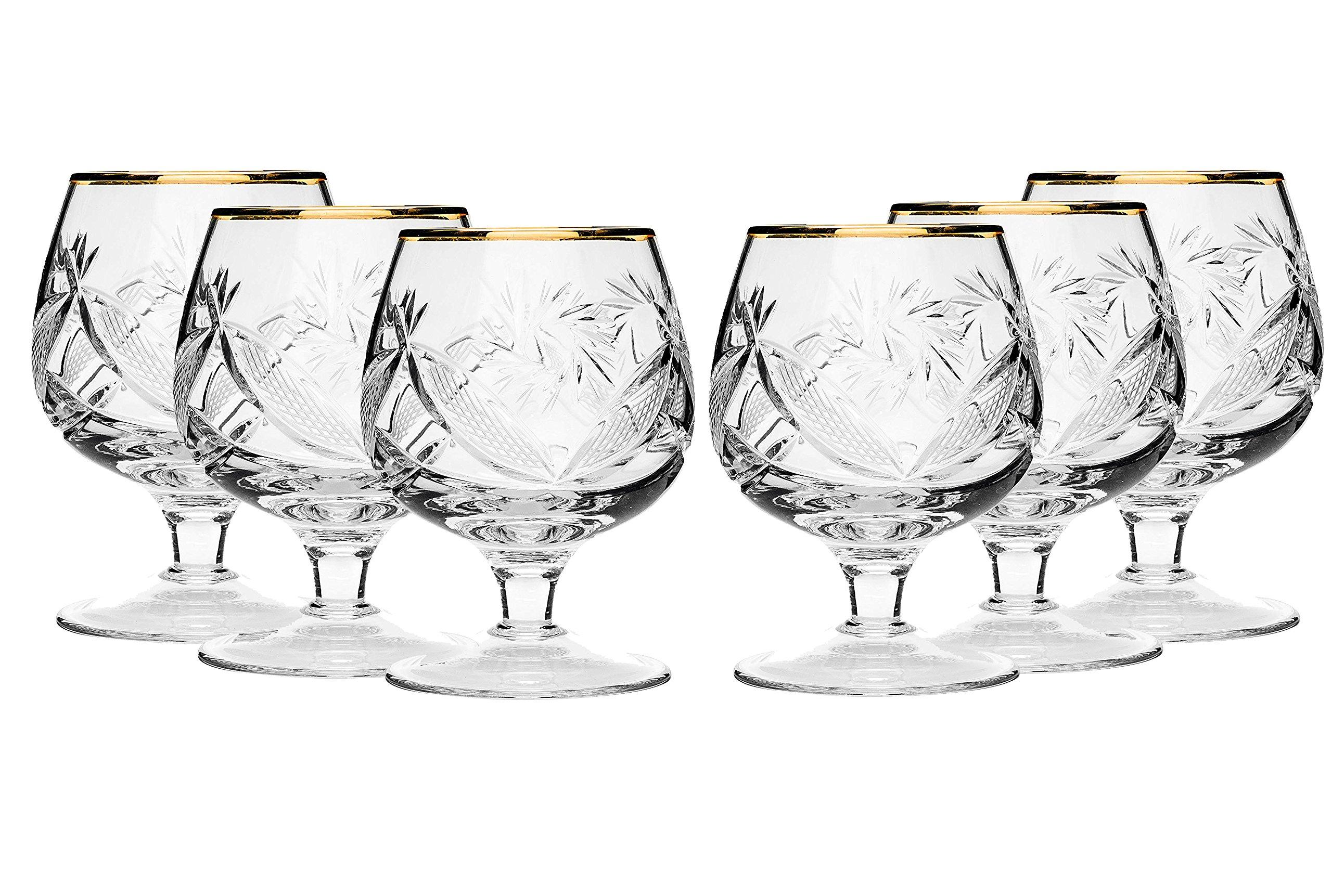 SET of 6 Russian Cut Crystal Cognac Scotch Whiskey Stemmed Snifter Goblet Glass 24K Gold Rimmed 7 Oz. Vodka Liquor Old-fashioned Glassware Hand Made