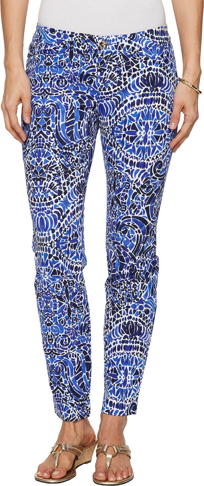 Lilly Pulitzer Women's Kelly Skinny Ankle Pants Bright Navy TAVERNA Tile All Over 8
