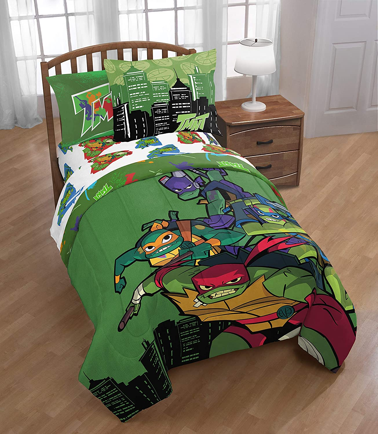 Teenage Mutant Ninja Turtles Full Comforter, Sheet Set, Bonus SHAM (6 Piece Bedding) + Bonus Wooden Figure Set