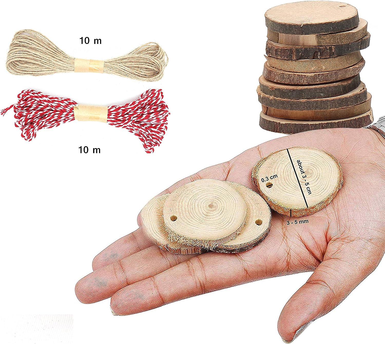 Rodajas de Madera Pack de 50 Incluye Cuerda de Yute y de Algod/ón para Colgar Decoraciones Agujero 3mm para Hilo Discos de Madera 3-5cm Trozos de Madera sin Acabado Suaves con Corteza