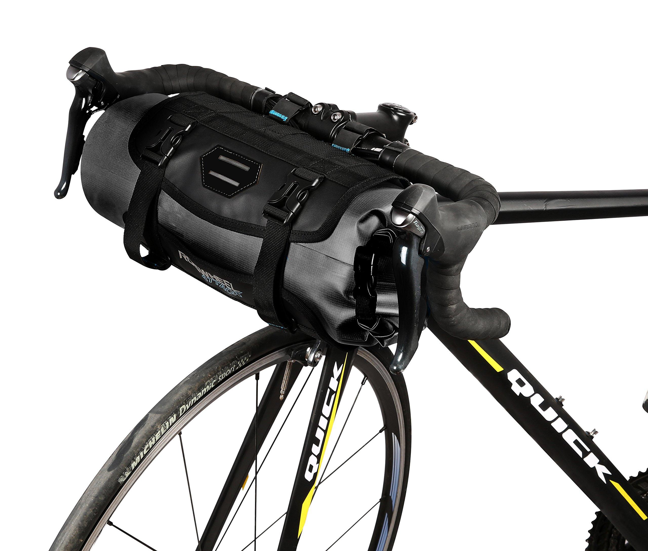 Roswheel Attack Series 111369 Waterproof Adjustable Capacity Bike Bicycle Cycling Handlebar Bag Detachable Dry Pack, Black