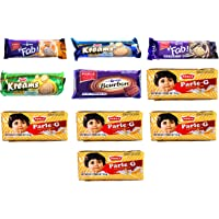 Parle Biscuits Multi Flavor Pack of Fab chocolate, Fab Orange, Bourbon, Creams Pineapple, Cardamom (Elaichi), and the…