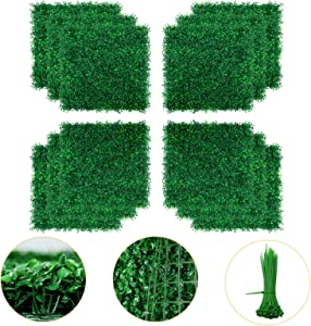 Boxwood Panel - 12PCS Artificial Boxwood Hedge Wall Panels, Faux Greenery Boxwood Hedge Mat for Indoor Wall Decor, 20 x 20 Inch Artificial Greenery Panels as Garden Fence Screen for Outdoor Decor