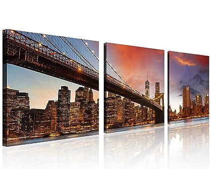 Amazon.com: QICAI 3 Panel New York Skyline Wall Art New York Wall ...