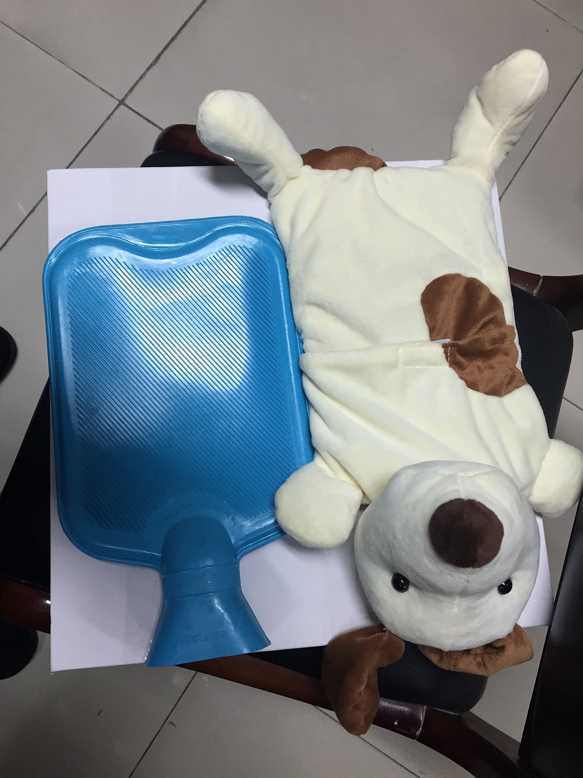 Hot Water Bottle Blue with Pup Cover