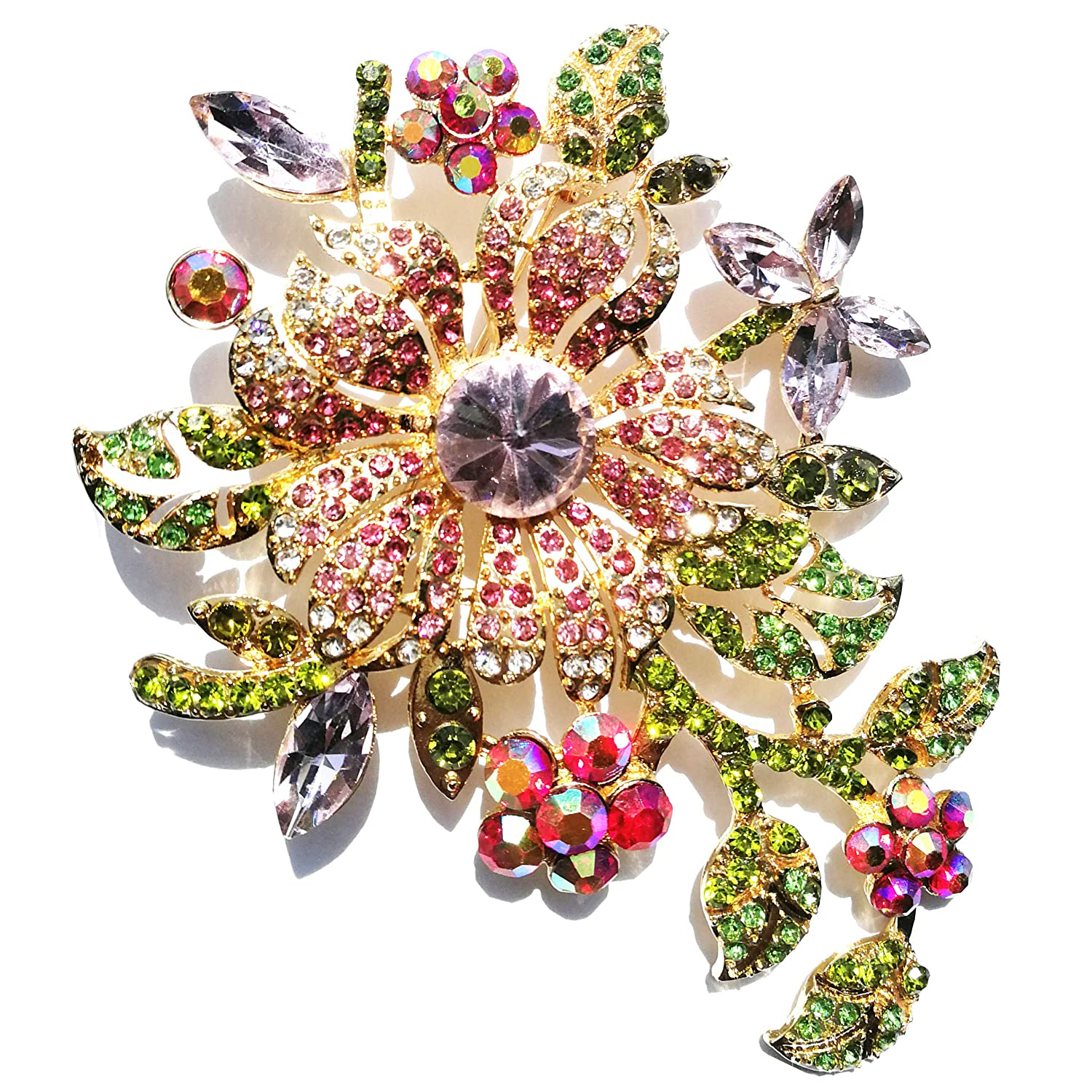 1960s Jewelry Styles and Trends to Wear Klorify Big Flower Brooch for Woman Girl Elegant Pink Crystal Rhinestone Pin Romantic Wedding Bride Bridesmaid Rhinestone Brooches and Pins Jewelry $9.99 AT vintagedancer.com