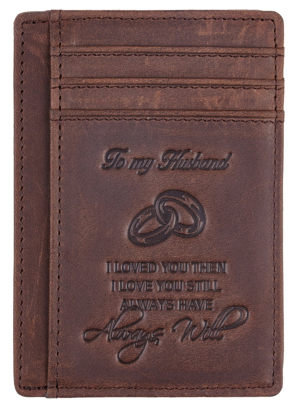 NapaWalli Wife To Husband Gift Best Anniversary Birthday Gifts For Him Genuine Leather RFID Blocking slim Wallet Card Holder (Hunter Coffee) by NapaWalli (Image #4)