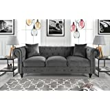 Classic Velvet Scroll Arm Tufted Button Chesterfield Style Sofa (Grey)