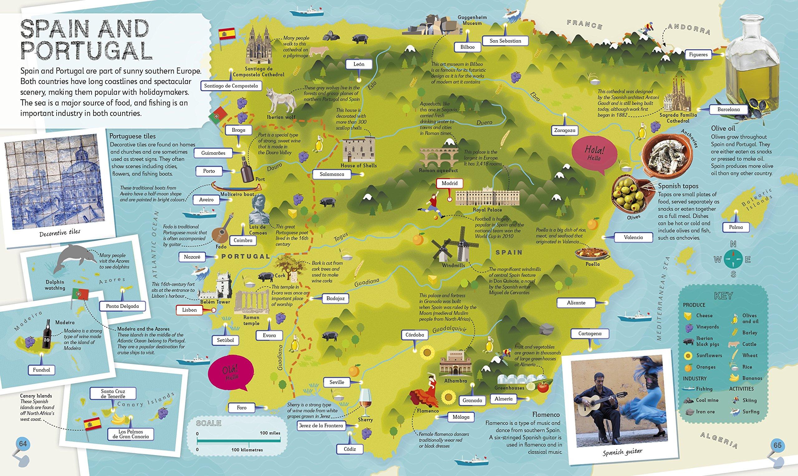 Map Of Spain For Children.Children S Illustrated Atlas Dk 9781465435552 Amazon Com Books