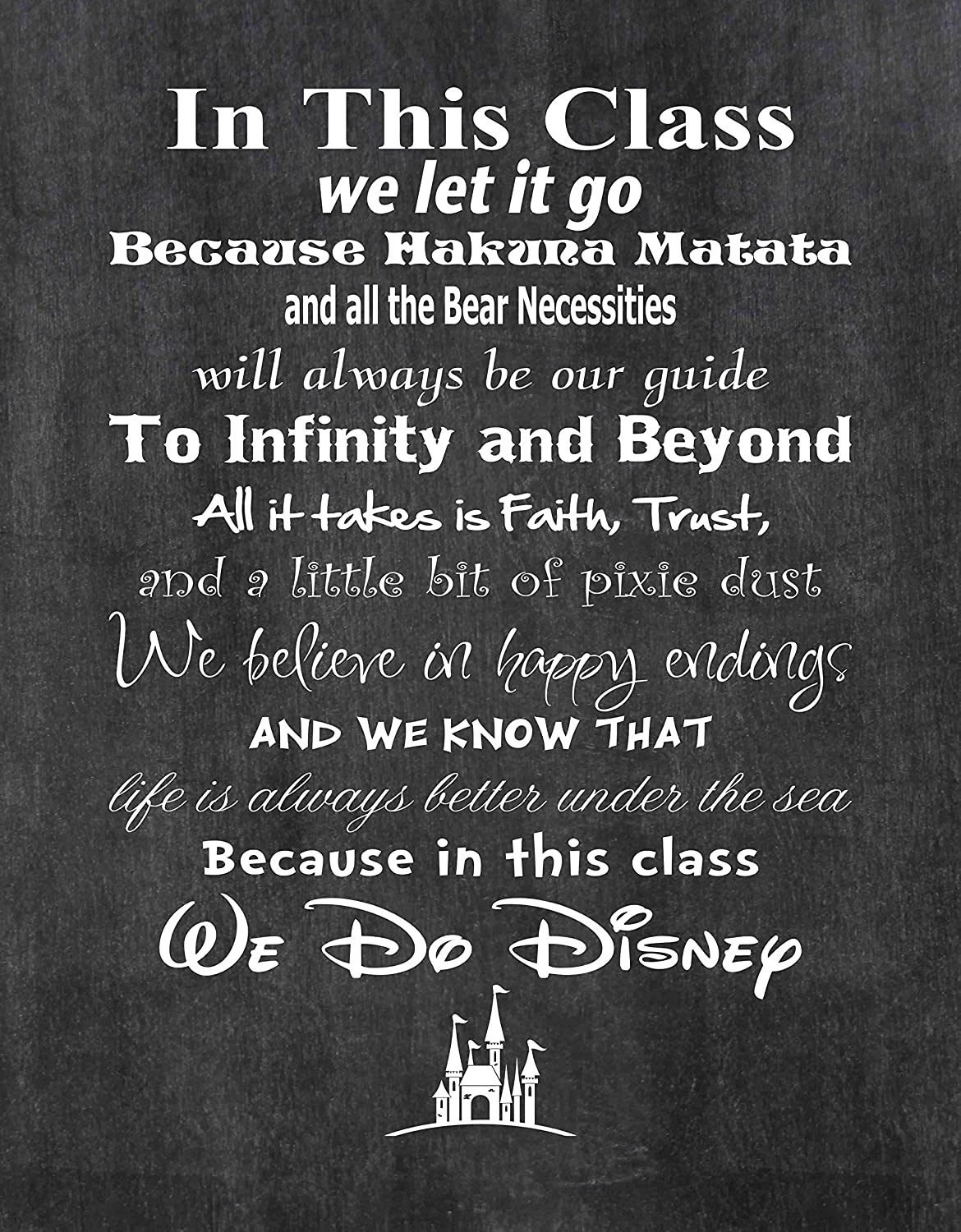 "Simply Remarkable In This Class We Do Disney Art Print. School Teacher Wall Décor Class Rules. USA Made Poster Gifts for Educators, Principals, Coaches. Decorate Classroom or Office. (8"" x 10"")"