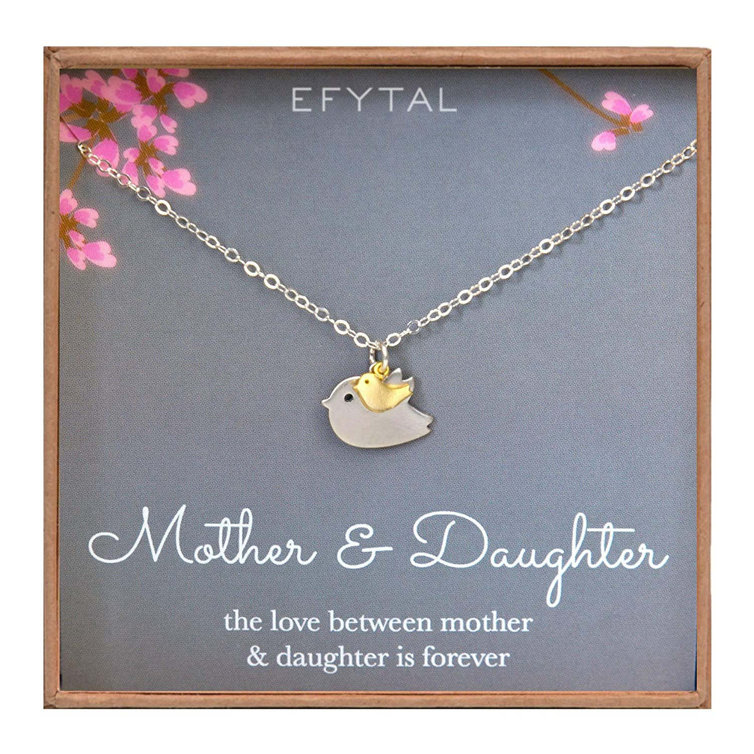 8d1933baaf8f3 EFYTAL Mother Daughter Necklace - Mommy and Baby Bird, Two Tone Mothers Day  Jewelry Gift