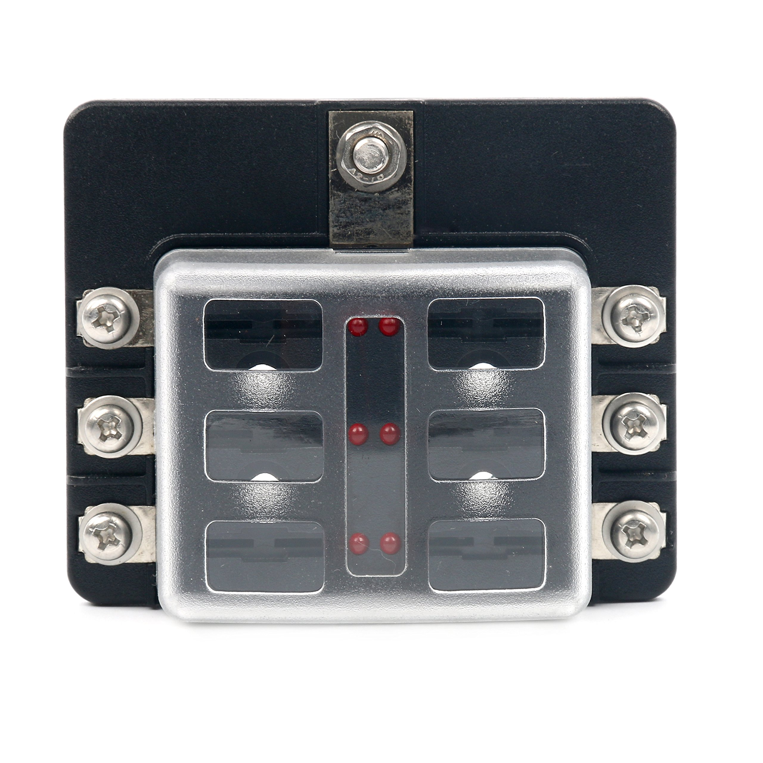 Yaetek 6 Way Terminals Circuit Atc Ato Car Auto Blade Fuse Box Block Automotive Holder Led Indicator For Blown Protection Cover 100 Amps