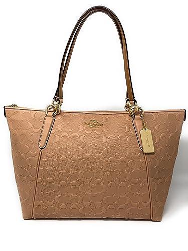 Amazon.com  Coach AVA Leather Shopper Tote Bag Handbag (Nude Pink  Embossed)  Shoes 78acd20f6e8f8