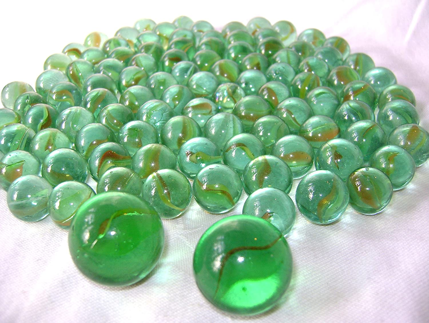 NEW 102 CAT'S EYE GLASS MARBLES IN NET inc 2 DOBBER SHOOTER MARBLE KNIGHT