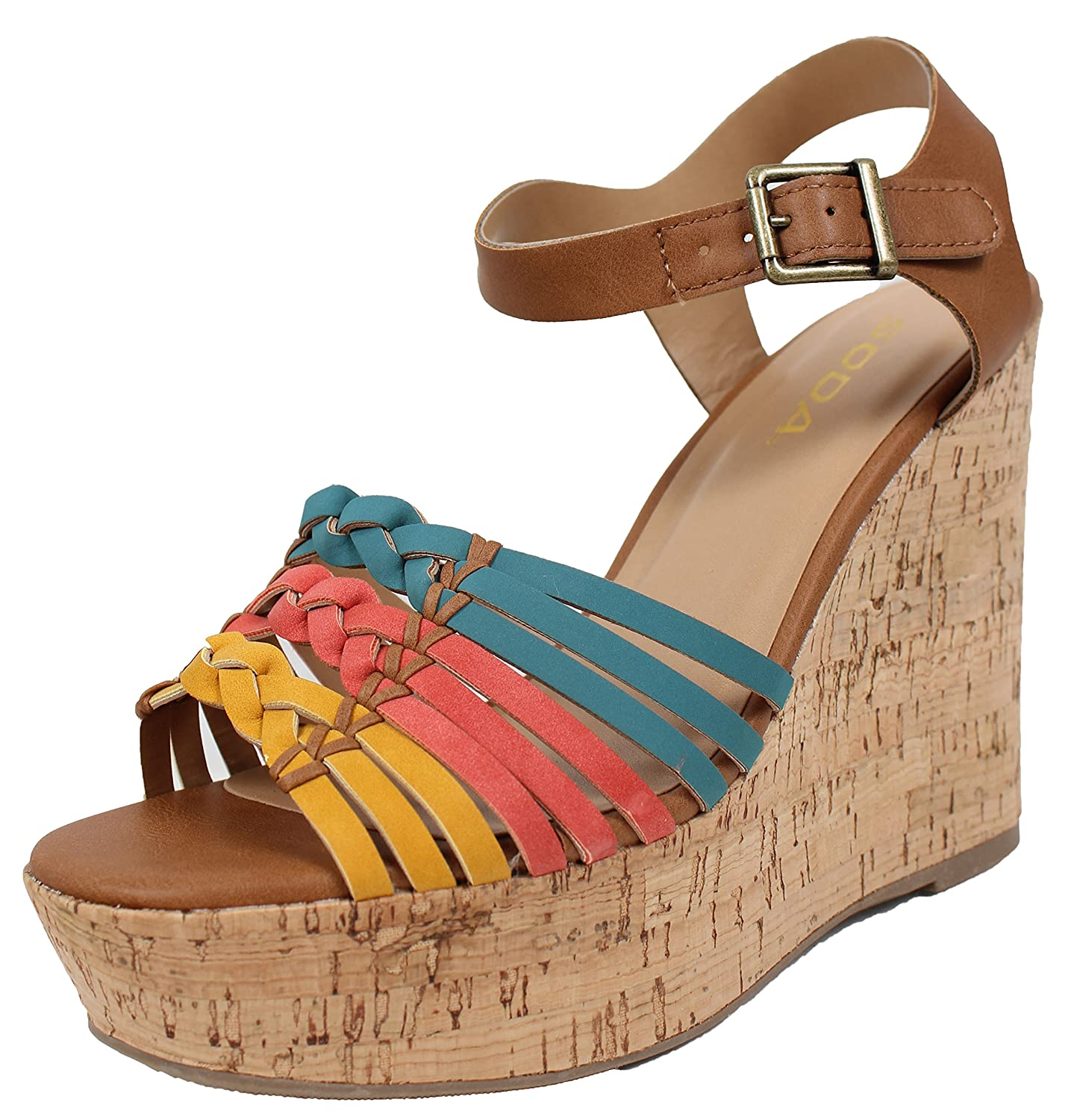 Soda Women's Open Toe Color Block Braided Strappy Cork Wedge Sandals