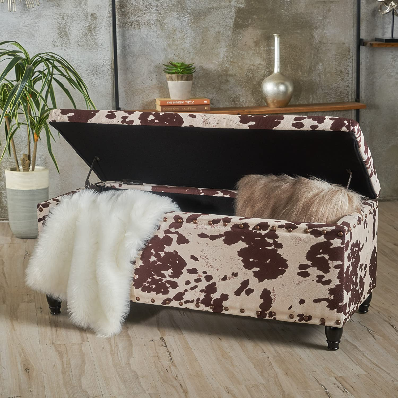 Christopher Knight Home Living Talia Milk Cow New Velvet Storage Ottoman, Dark Brown