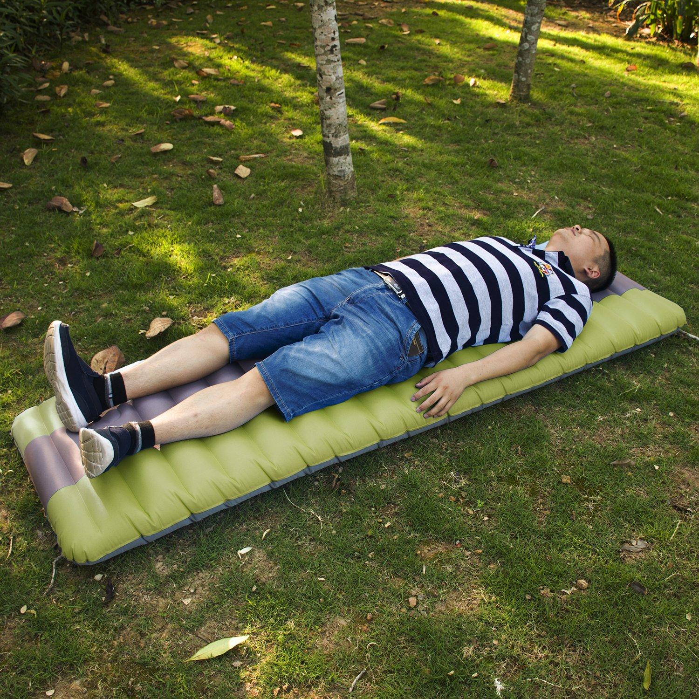 espesor pero compacidad inflado r/ápido a pie o mano Colchoneta Autohinchable con bomba incorporada,Colch/ón de Aire Cama al Aire Libre para C/ámping,Coj/ín flotante para piscina y alfombra para dormir para acampar