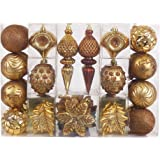 Valery Madelyn 50ct Woodland Shatterproof Christmas Ball Ornaments Decoration, 50 Pcs Metal Hooks Included, Themed with Tree Skirt(Not Included)
