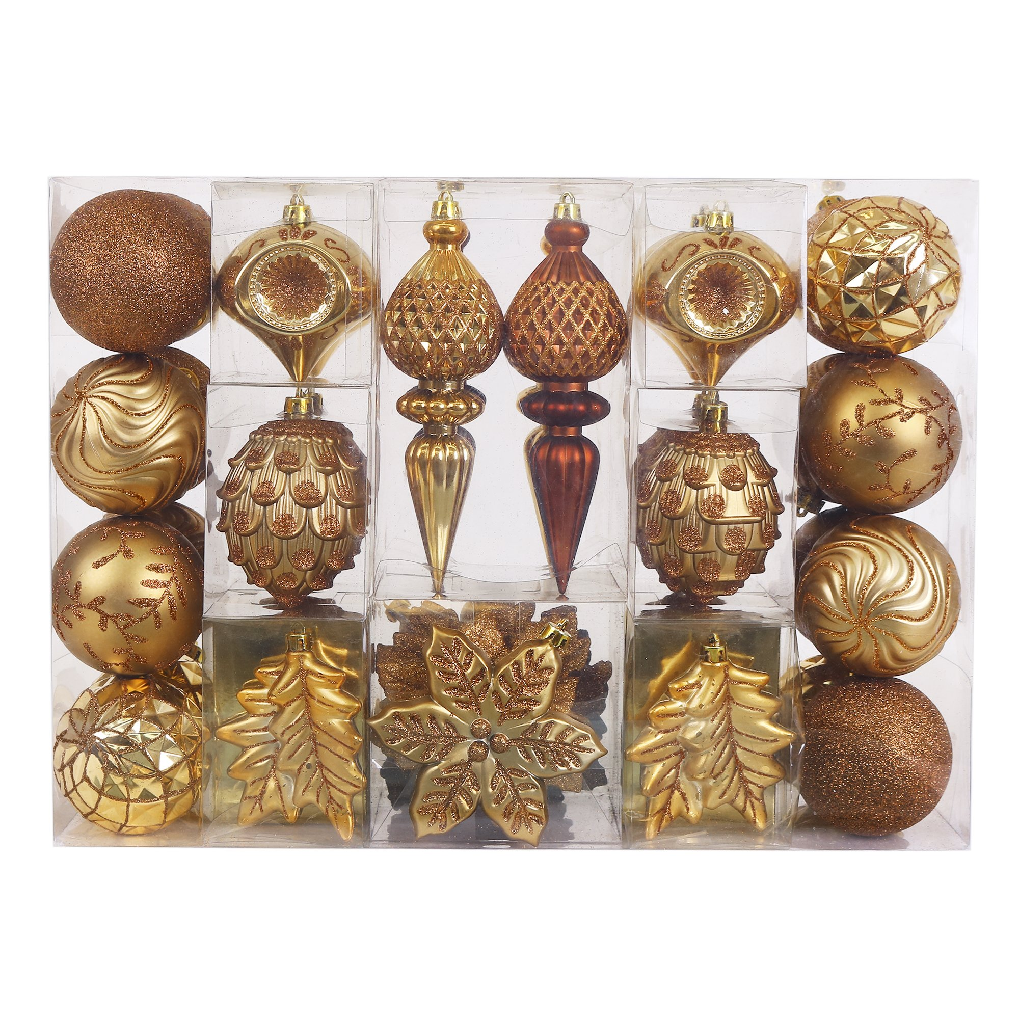 V&M VALERY MADELYN 50ct Shatterproof Bauble Christmas Ornaments Woodland,8CM-19.5CM/3.15inch-7.68inch,50 Pcs Metal Hooks Included, Themed with Tree Skirt(Not Included)