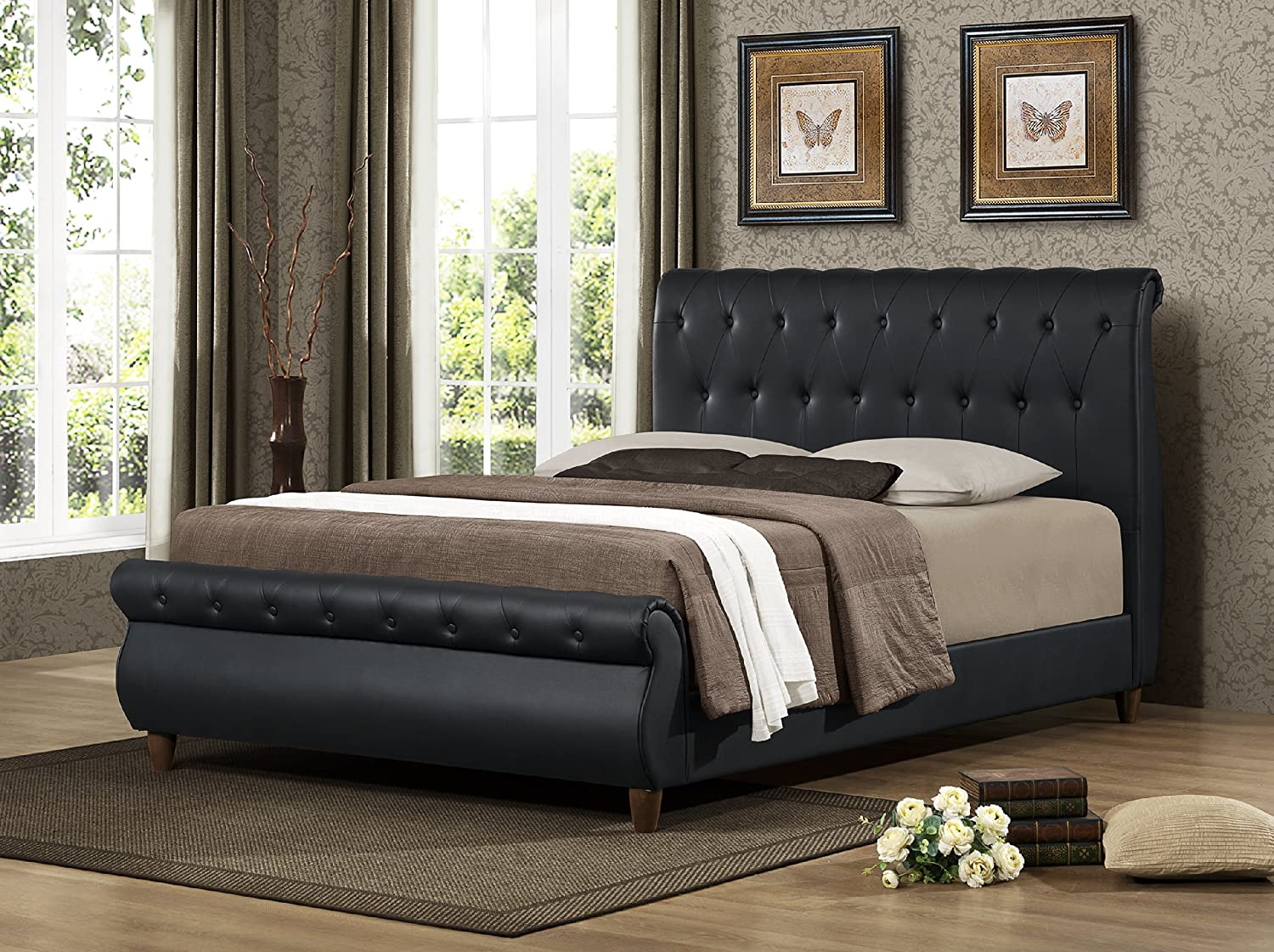 upholstered leather sleigh bed. Amazon.com: Furniture World Dali Upholstered Sleigh Bed With Button Tufted Accents And Wooden Legs, Queen, Black: Kitchen \u0026 Dining Leather T