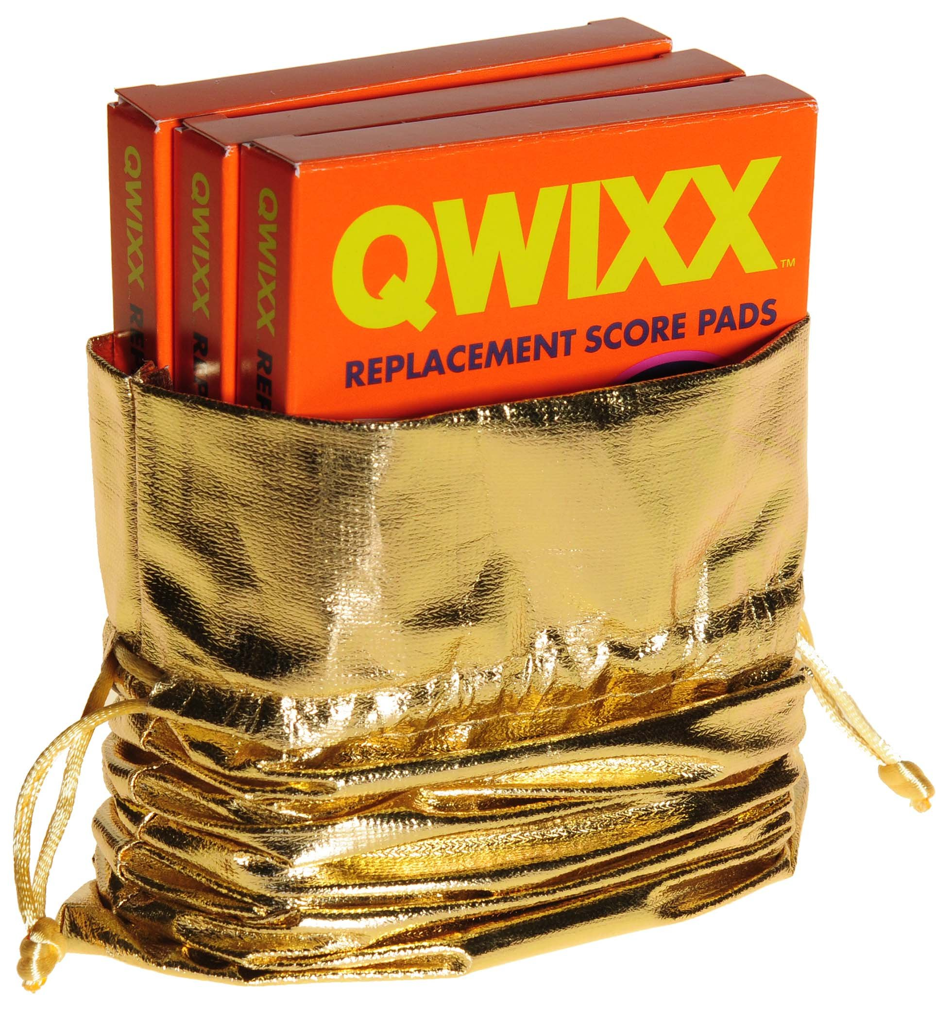 QWIXX 3 Replacement Score Pad Packs _ 600 Score Sheets _ Bonus Gold Metallic Cloth Drawstring Pouch _ Bundled Items by Deluxe Games and Puzzles (Image #5)