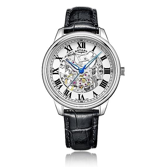 Rotary - Reloj automático para Hombre, Correa de Piel, Color Negro: Amazon.es: Relojes