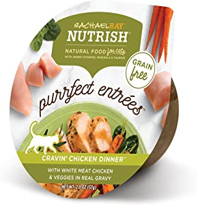 Rachael Ray Nutrish Purrfect Entrees Natural Wet Cat Food, Cravin' Chicken Dinner Recipe, 2 Ounce Cup (Pack of 24), Grain Free