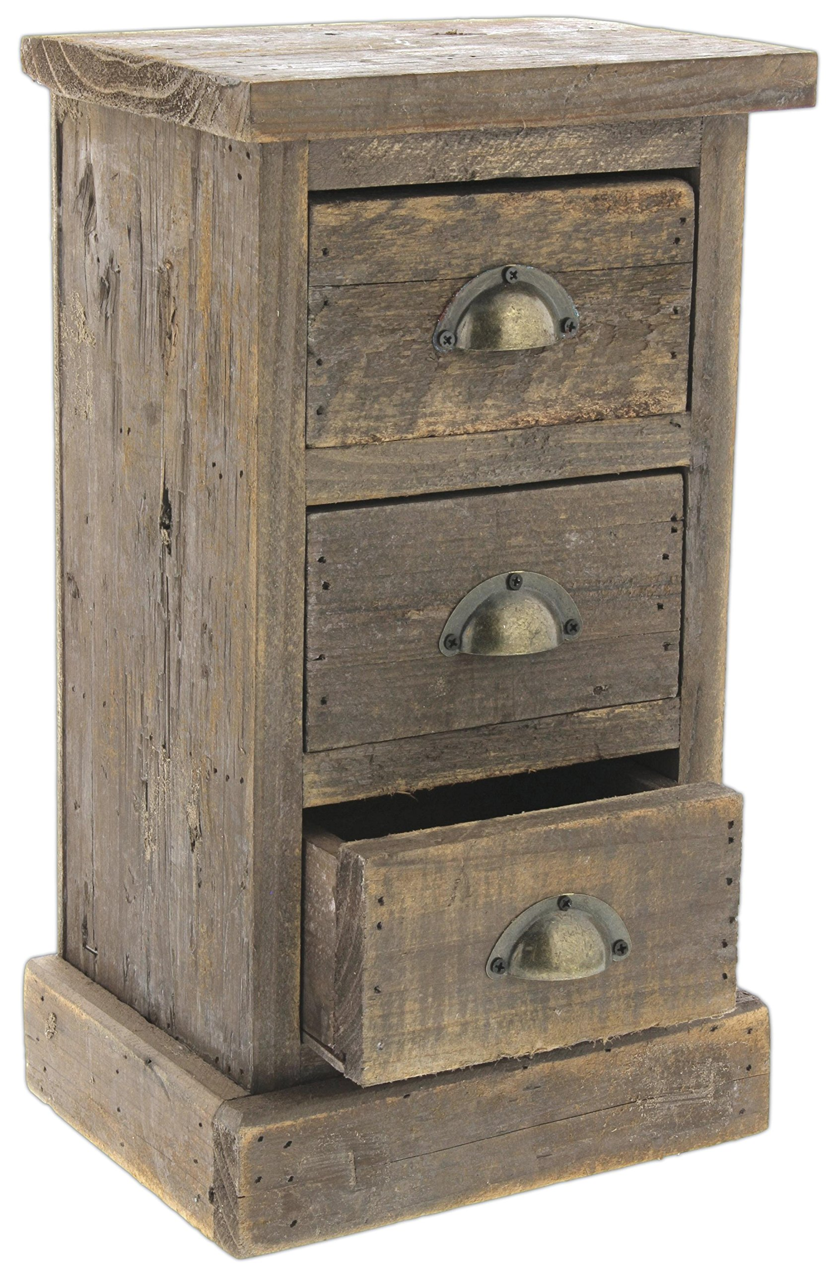 Lucky Winner 13'' Mini Distressed Wood Cabinet with 3 Drawers