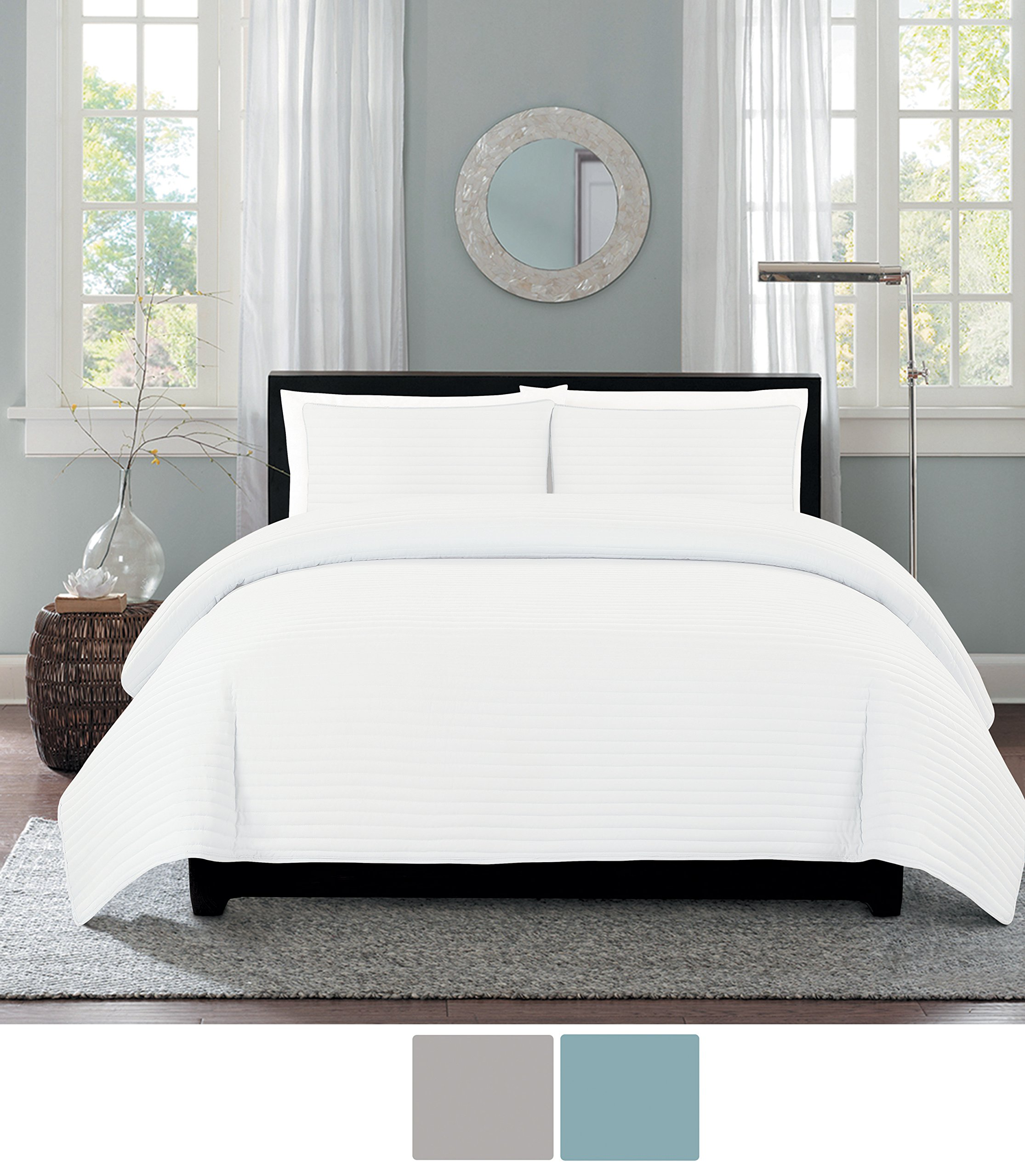 NC Home Fashions One Inch Channel quilt set, King, Bright White by NC Home Fashions Inc. (Image #1)