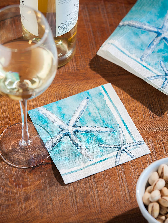 "Cypress Home Sea Life Paper Cocktail Napkins, 20 count - 5""L x 5""H Evergreen Enterprises Inc. COMINHKPR108107"