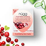 nügg Exfoliating Face Mask; Brightens Skin, Removes Dry Skin and Provides Radiance; 93% natural with Cranberry Seed Oil and Jojoba Beads; Pack of 5 Single Use Gel Face Mask Pods; 5 x 0.33 fl.oz.
