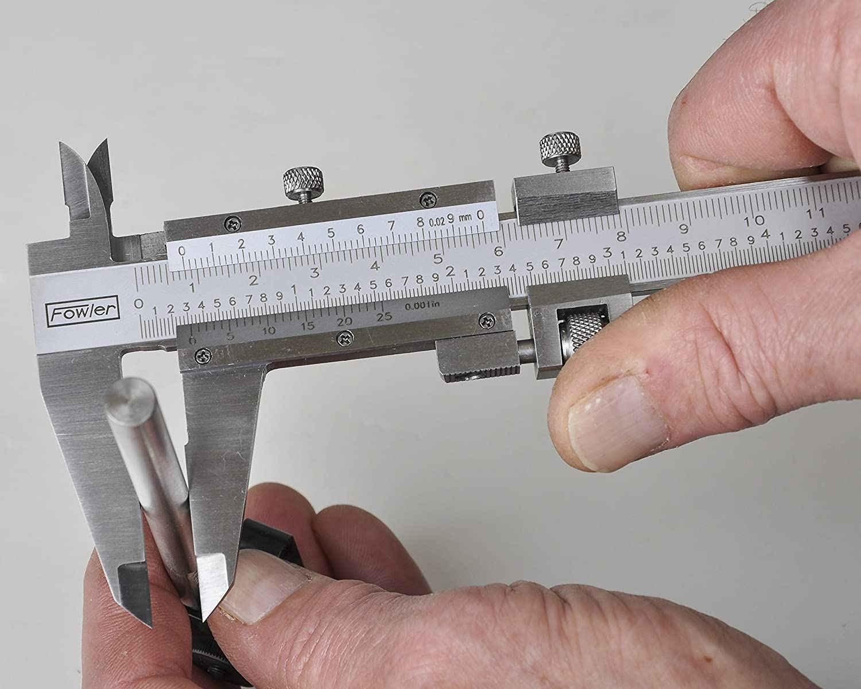 Fowler 52 058 012 stainless steel fine adjustment vernier caliper with satin chrome finish 0 12 0 300mm measuring range 0 001 0 02mm graduation