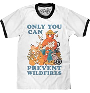 Tee Luv Smokey Bear T-Shirt - Only You Can Prevent Wild Fires Ringer Shirt f4af963ab