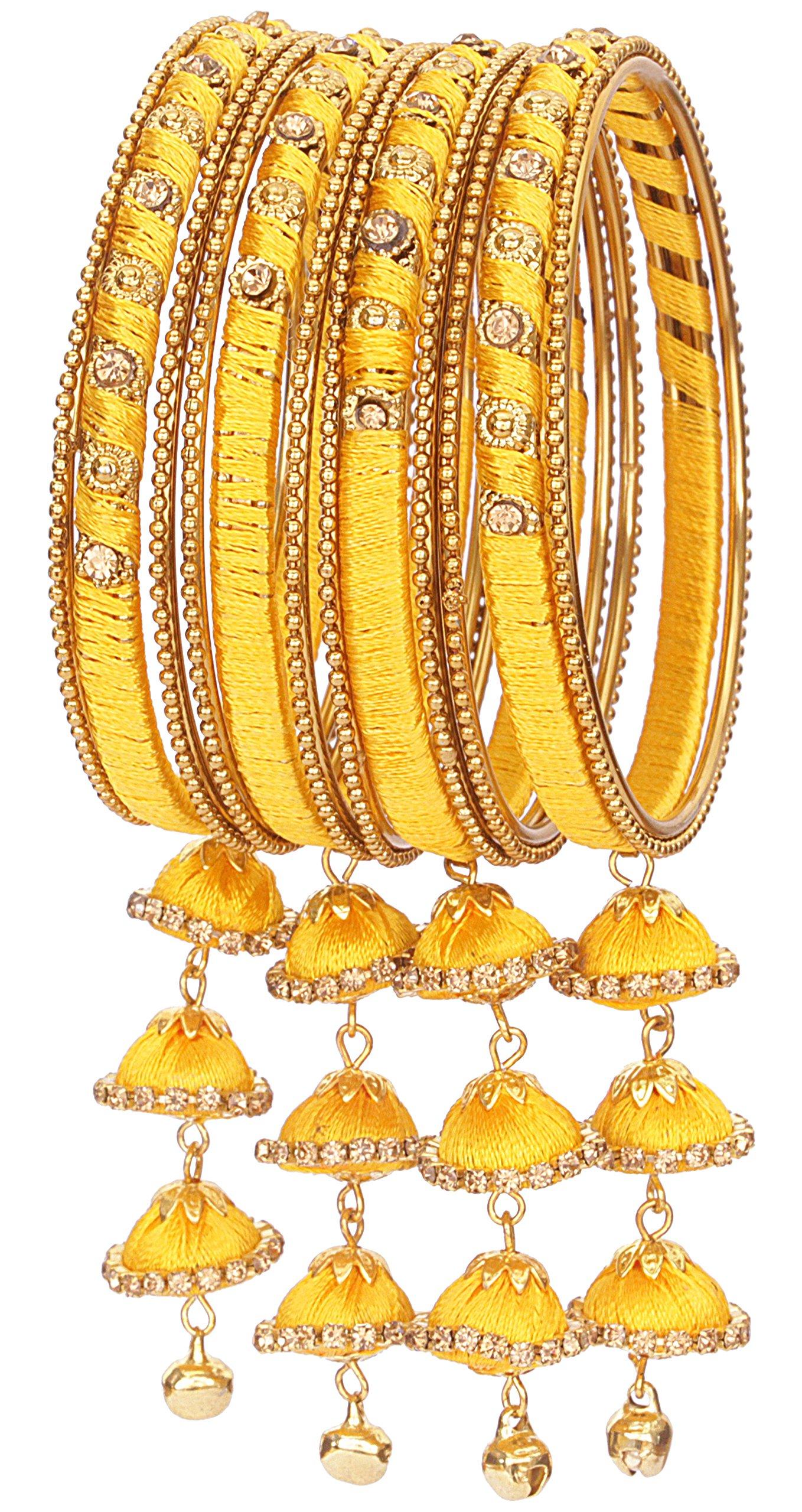 Nmii Yellow Silk Thread Bangle Set For Women (B0782M4P5B) Amazon Price History, Amazon Price Tracker