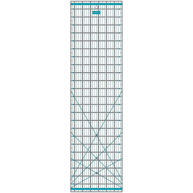 mit inch Skala und Winkelfunktionen pink transparent ideal f/ür Patchwork und zum Basteln SEMPLIX Patchwork-Lineal Quilt-Lineal 24 x 6,5 inch