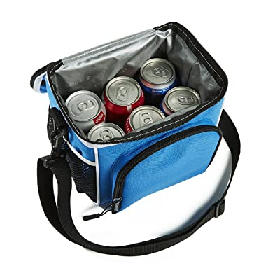 Fit & Fresh Small Cooler Bag & Lunch Box, Insulated with Adjustable Shoulder Strap, 6-can Cooler Bag for Adults & Kids, Blue & Black