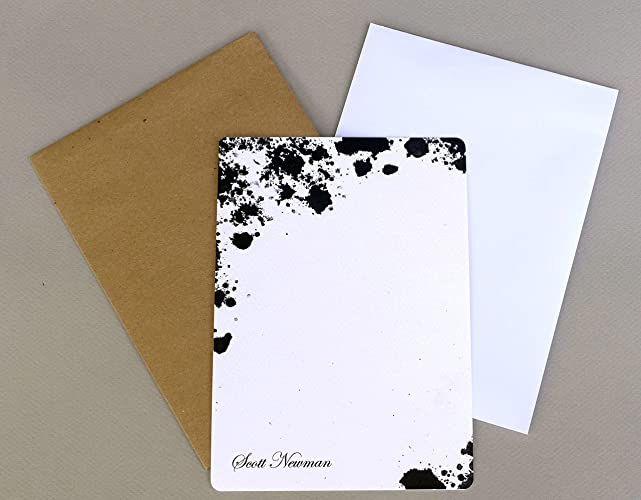 personalized flat note card set with envelopes black ink spots watercolor splash mens monogrammed - Personalized Flat Note Cards