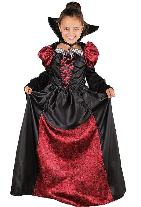 bbeb4e35ebae Lady Vampira Costume Vampira Bambina Halloween inclusivo di Vestito da  Vampira con Colletto - Costume Ragazza