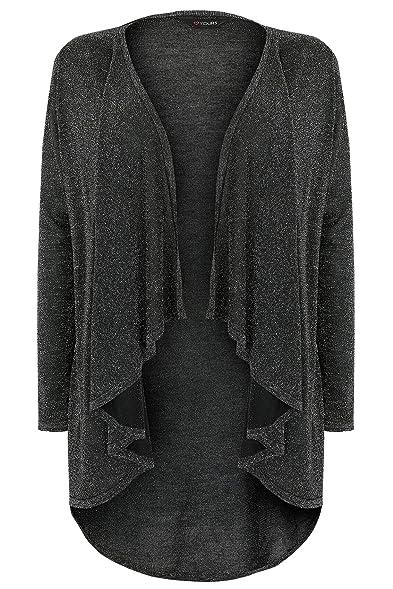 YoursClothing Plus Size Womens Metallic Waterfall Cardigan, Plus ...
