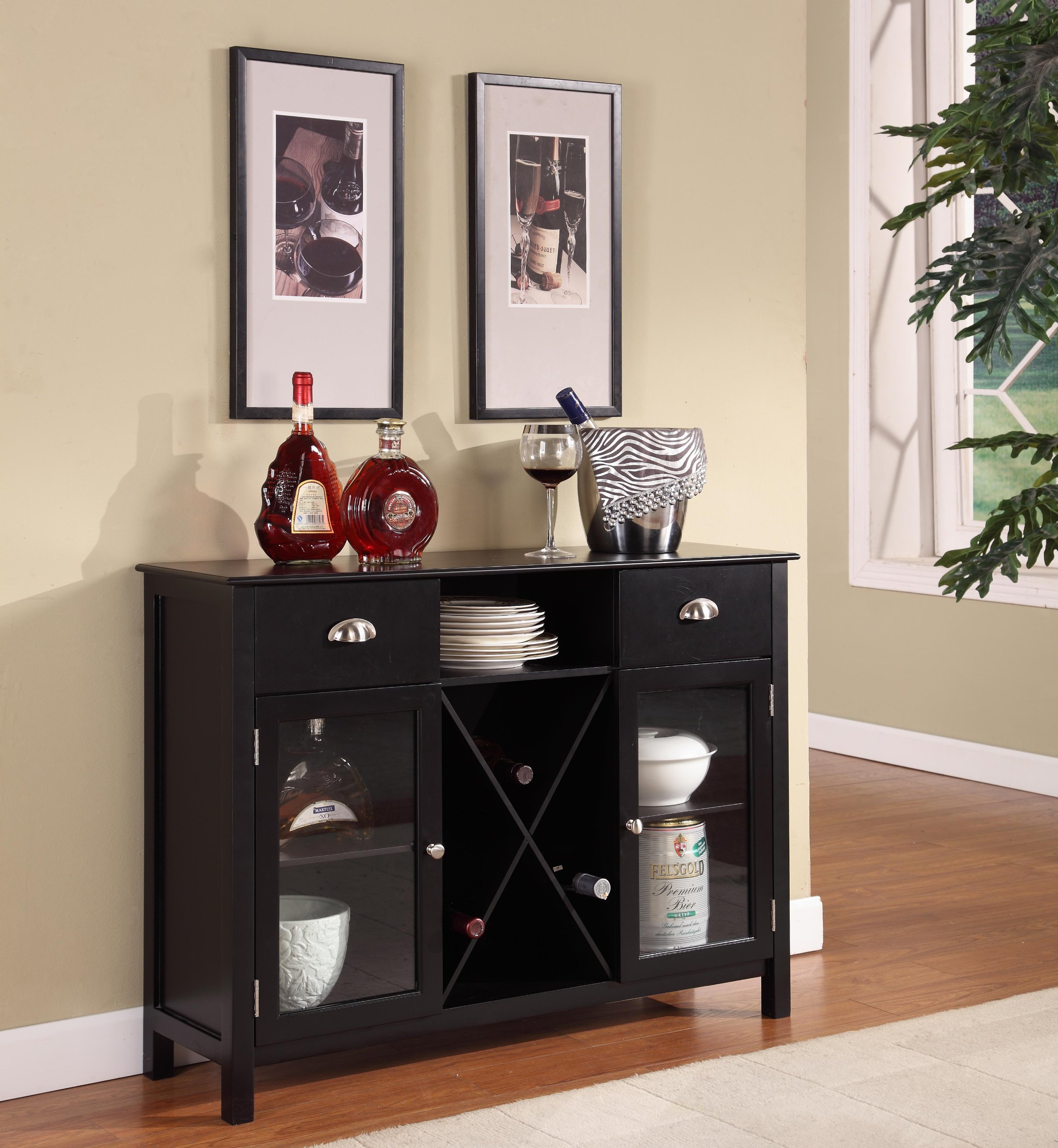 King's Brand Wood Wine Rack Console Sideboard Table with Drawers and Storage, Black Finish by King's Brand