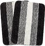 Saral Home Soft Microfiber Bath Mat (Black, 50x70cm) - Pack of 2