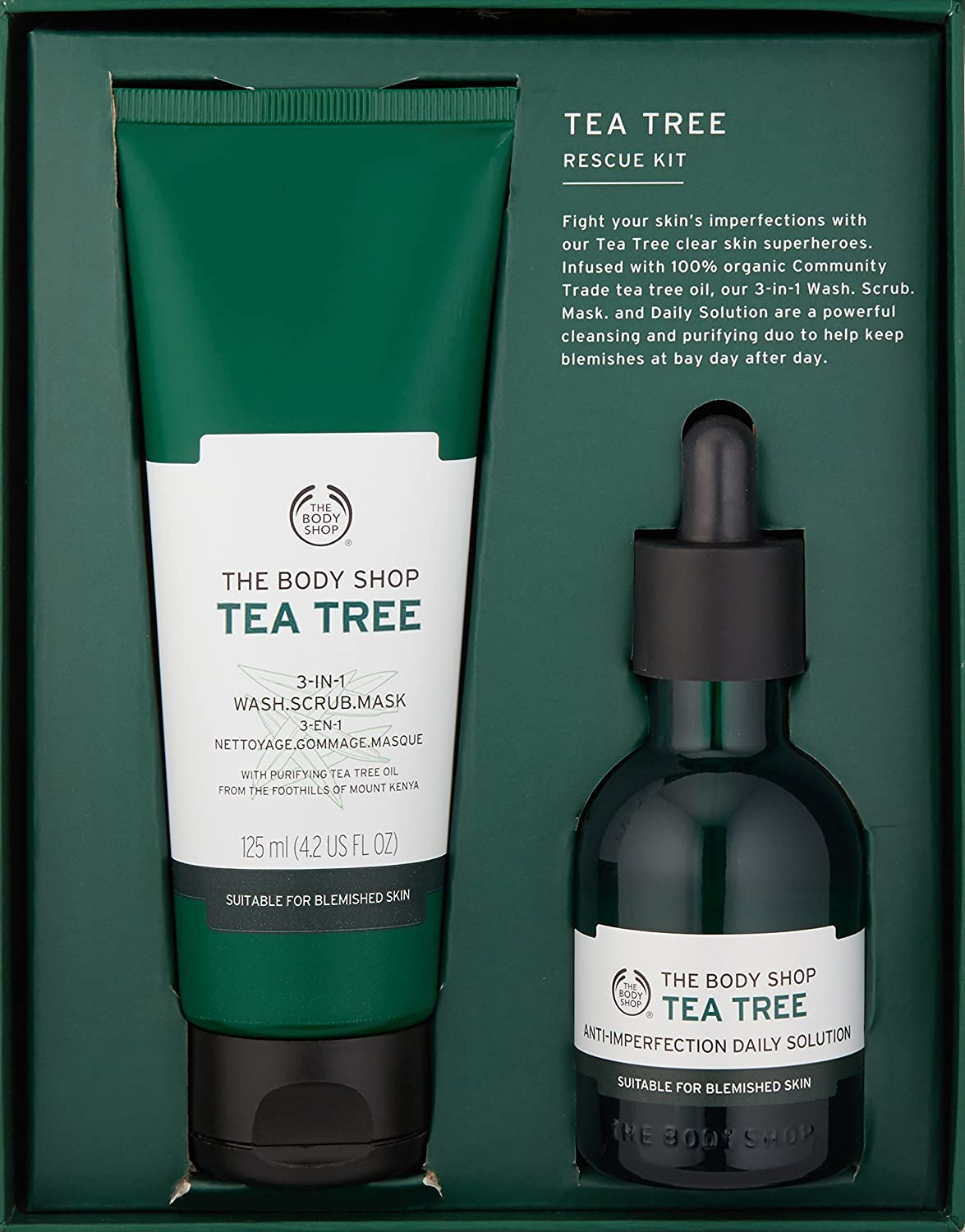 2 Pack - The Body Shop Tea Tree 3-in-1 Wash.Scrub.Mask, Made with Tea Tree Oil 4.2 oz Niacinamide Serum - 2oz - Vitamin B3 Serum Cream - Visibly Tightens Pores with Hyaluronic Acid, Avocado Fruit Oil, Vitamin E, Organic Aloe, and many other natural and organic ingredients