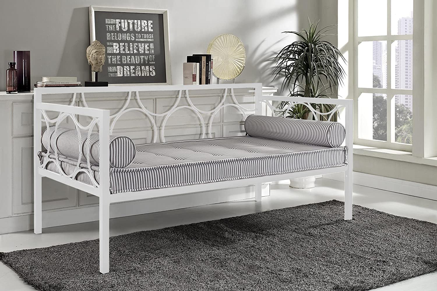 Amazon.com: DHP Rebecca Daybed Metal Frame, Twin Size - White ...